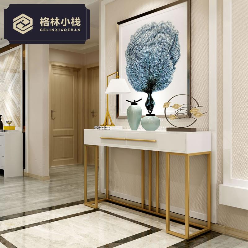 中式现代简约创意不锈钢客厅门厅玄关柜铁艺玄关桌供桌条案玄关台