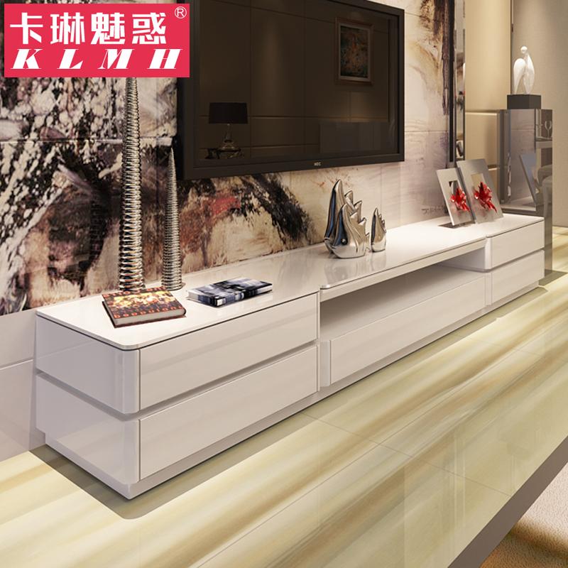 现代简约电视柜茶几组合 钢琴烤漆钢化玻璃 时尚地柜储物柜