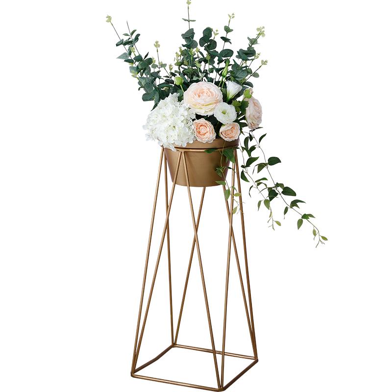 北欧创意客厅室内落地式铁艺花架现代简约仿真花盆家居装饰品摆件