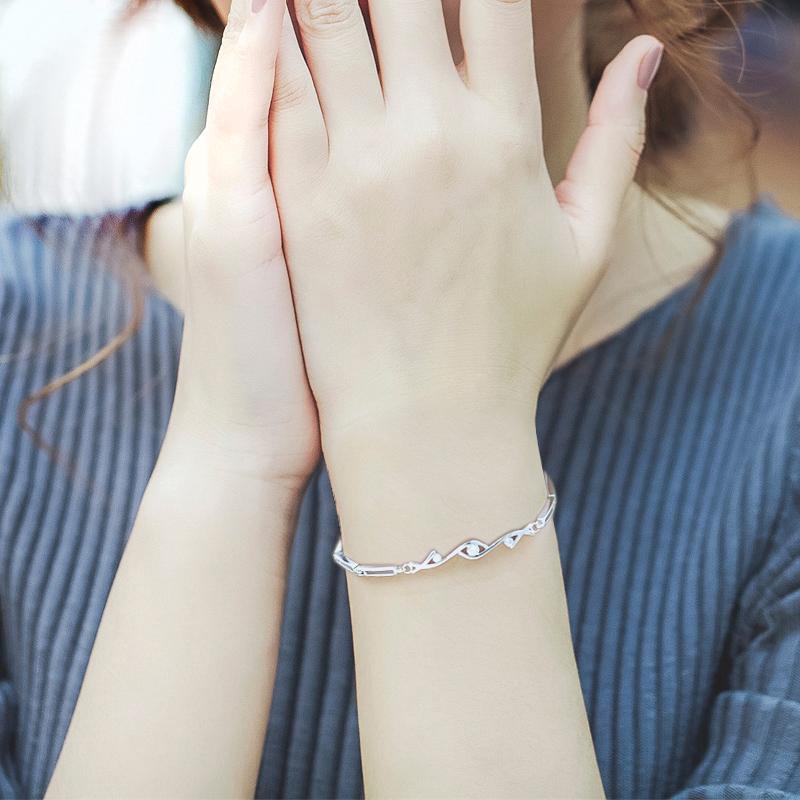 银手链女纯银韩版简约个性学生森系清新刻字情侣情人节礼物送女友