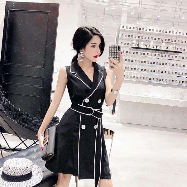 实拍+小视频 韩版气质时尚淑女百搭开衫连衣裙