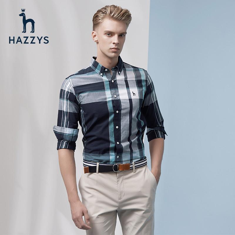 Hazzys哈吉斯格子长袖衬衫男翻领休闲男士衬衣男装衣服新款上衣