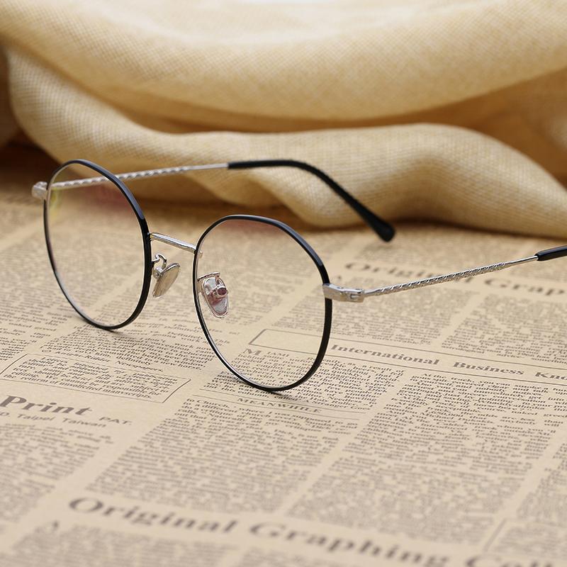 防辐射平光眼镜男文艺潮配近视眼睛不规则圆框全框防蓝光眼镜框女