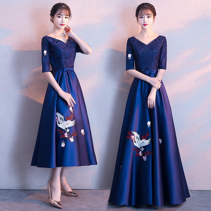 宴会晚礼服裙2018新款高贵优雅聚会小礼服连衣裙女中长款端庄大气