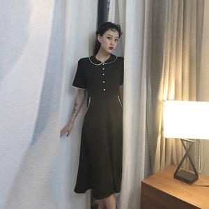 春装2019款女bt365注册_bt365.com_bt365网站打开不了韩版复古显瘦收腰蕾丝拼接短袖气质连衣裙小黑裙