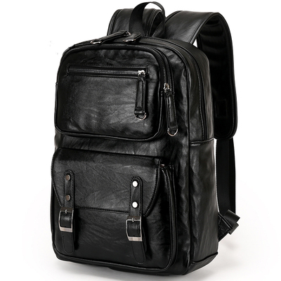 2017 new men's leather backpack male college wind double backpack men and women school bag computer bag travel bag
