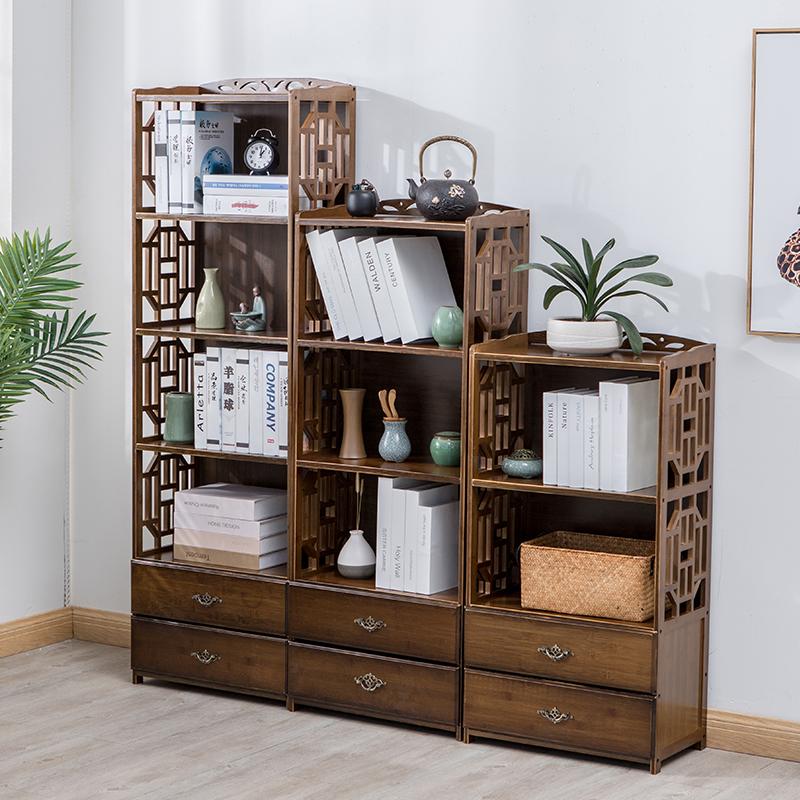 楠竹客厅置物架储物架简易中式抽屉书柜实木落地简约现代组合书架