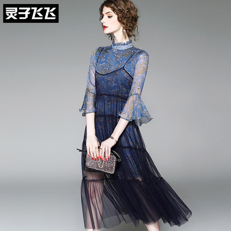 夏季小香风中长款喇叭袖小碎花印花网纱吊带雪纺两件套装连衣裙女