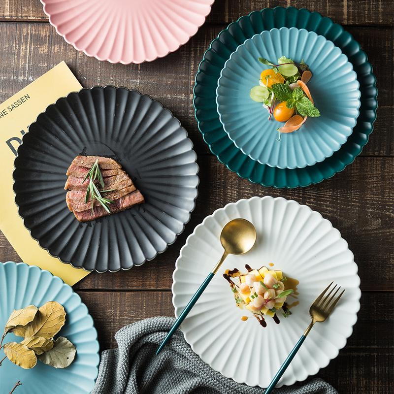 北欧创意家用菜盘哑光陶瓷餐盘餐具