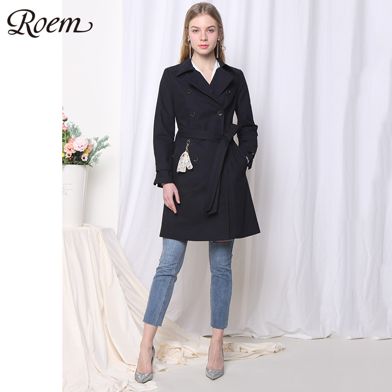 Roem春秋新款韩版修身双排扣chic系带风衣女中长款外套RCJT81202C