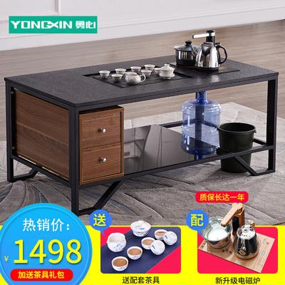 火烧石功夫茶桌办公室沙发组合钢化玻璃创意喝茶桌泡茶茶几 茶台