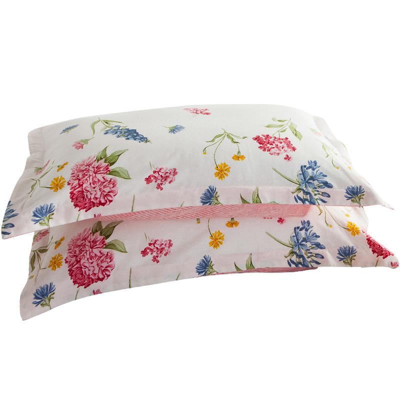 谷蝶纯棉枕套全棉枕头套一对装48*74单人 田园花卉款