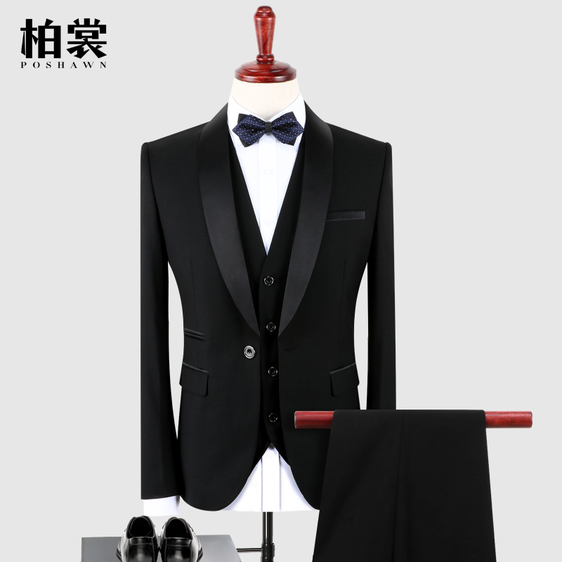 晚礼服男三件套青果领新郎结婚西装套装男士修身黑色表演主持西服