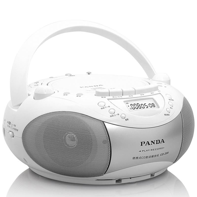 熊猫208小学生CD复读机磁带播放机英语学习家用便携录音机收录卡式可放收音的一体教学光盘CD面包机MP3播放器