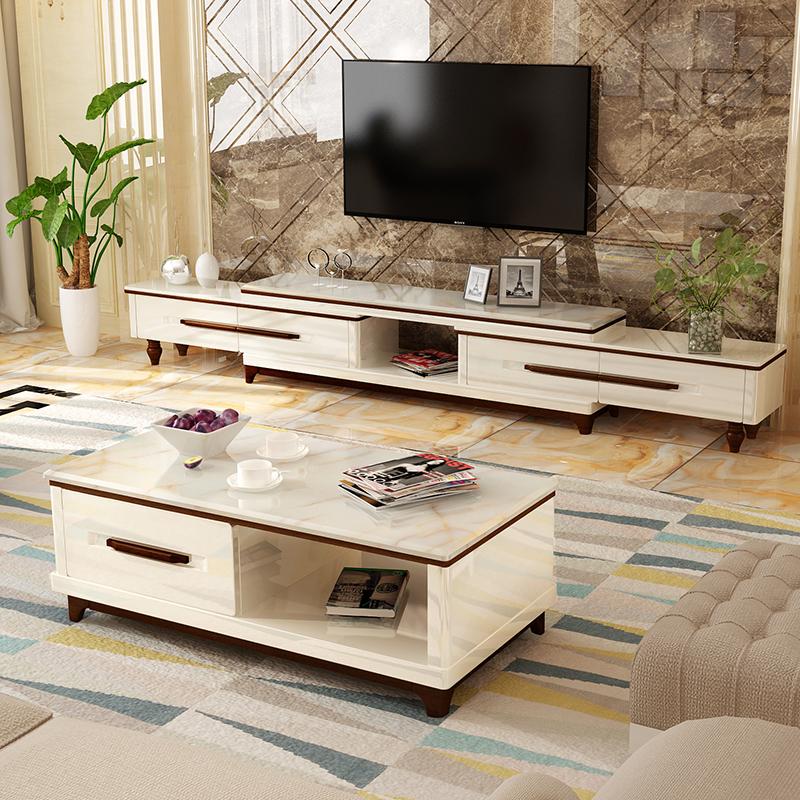 客厅简约现代大理石茶几电视柜组合套装北欧烤漆地柜欧式玻璃茶几