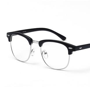 复古眼镜框男韩版平光镜女潮半框圆脸可配近视架防辐射眼睛框成品