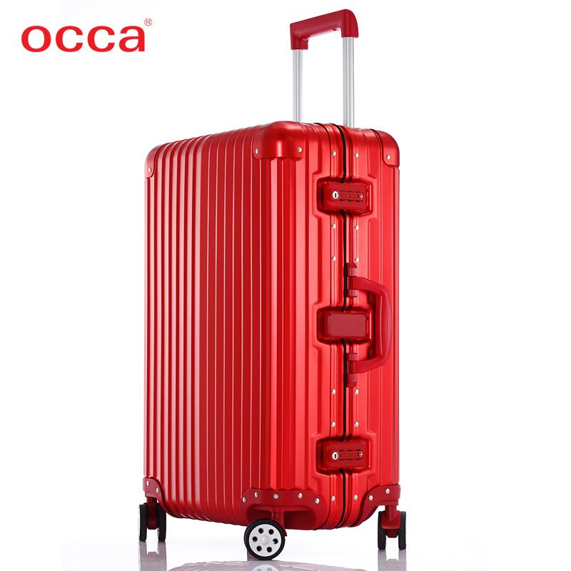 occa正品铝镁合金拉杆箱万向轮女红色旅行箱结婚箱时尚高端行李箱