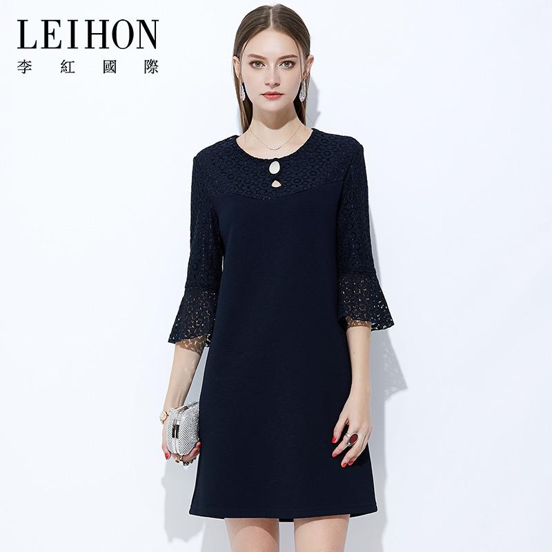 李红国际 高端大码蕾丝裙子 镂空荷叶袖黑色气质妈妈夏装连衣裙