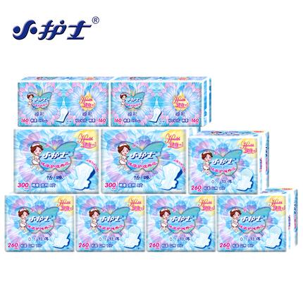 小护士卫生巾组合装9包106片 棉柔舒薄日用 加长夜用护垫姨妈巾