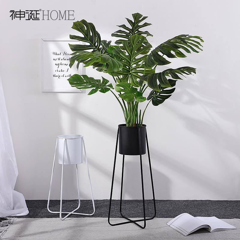 北欧铁艺花架阳台客厅室内落地式花瓶创意现代简约绿萝花盆花架子