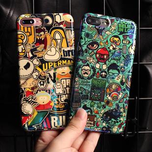 苹果8plus手机壳7plus搞怪涂鸦硬壳XS软壳iphone6S全包防摔max个性创意保护套XR潮牌6plus男款明星同款