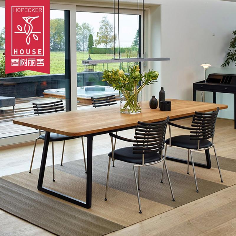 北欧餐桌椅简约铁艺实木客厅吃饭桌小户型洽谈长方形餐台原木长桌