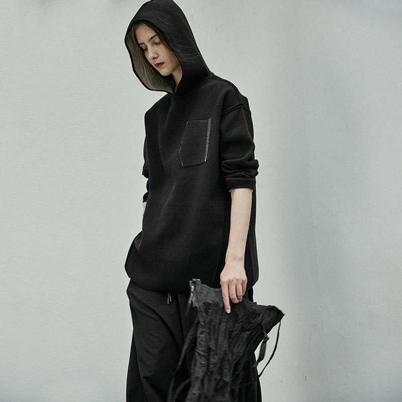 日着原创设计卫衣女2018秋季新款 黑色宽松羊毛上衣连帽套头衫