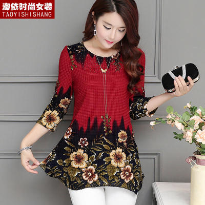 2018 summer new women's mother dress shirt women's long paragraph plus size fat MM seven points sleeve printed chiffon shirt