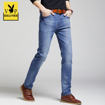 2018 new Playboy spring and summer thin section jeans business casual elastic loose straight Slim men's pants