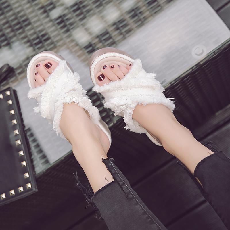 2017夏季新款黑色厚底松糕凉拖鞋交叉高跟鞋防水台一字室外拖鞋女