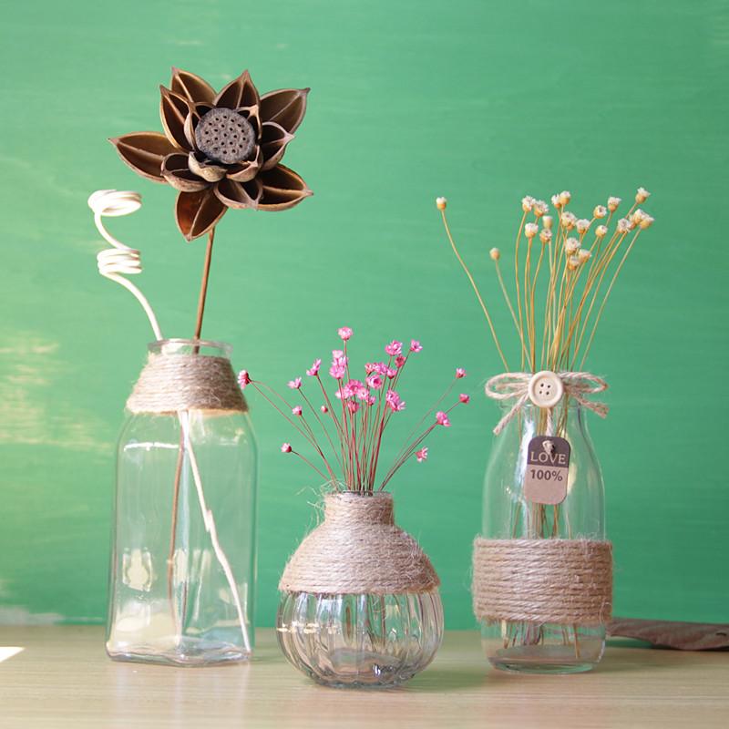 简约创意手工麻绳透明玻璃瓶 餐厅酒吧家居软装装饰水培花瓶图片