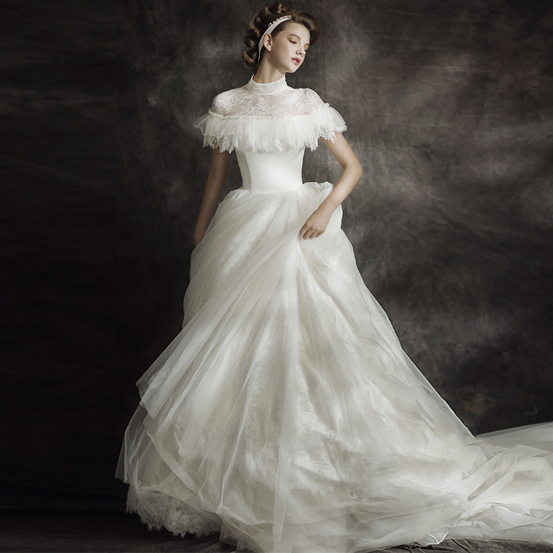 wedding dress 2018 new palace retro sen line was thin qi lai