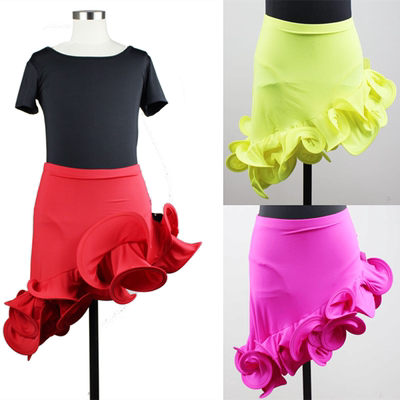 Children's Latin dance skirts, girls Latin dance exercises, lotus leaf half skirt, fishtail skirt, children's dance costumes.