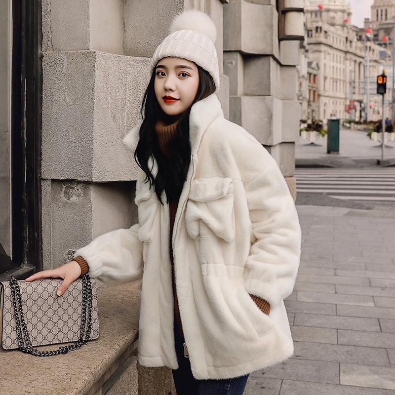 棉衣女2018新款韩版立领中长款棉袄ins超火的羊羔毛绒外套女冬季