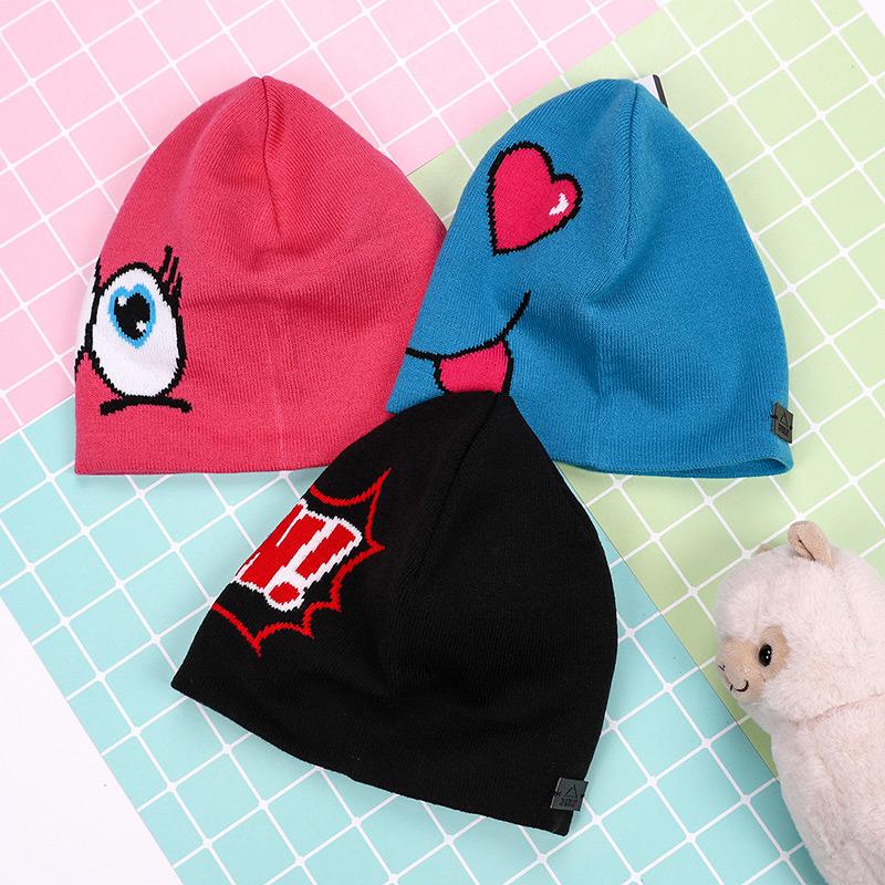 幸运叶子肯励2018新款男童女童帽冬季儿童运动休闲防风保暖针织帽