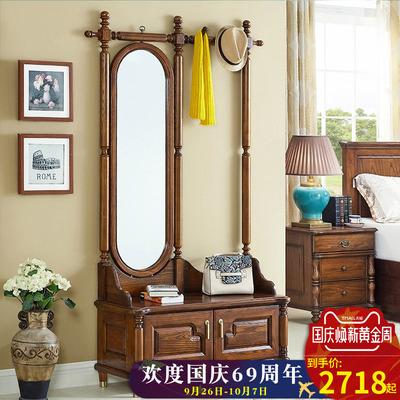 唯格轩美式实木鞋柜衣帽架组合一体镜子客厅多功能挂衣架子换鞋凳