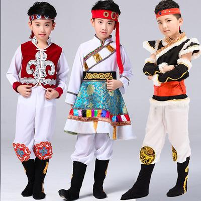 Children's minority costumes, boys'Mongolian costumes, Tibetan costumes and dance costumes