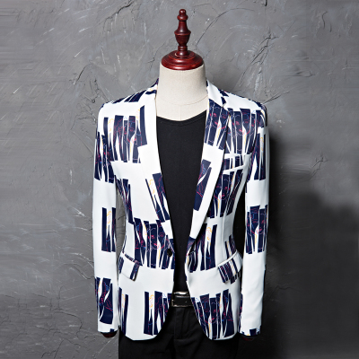 Printed Blue Stripe Dress Men's Leisure Suit Jacket Studio Moderator Hairstylist's Suit Danxi