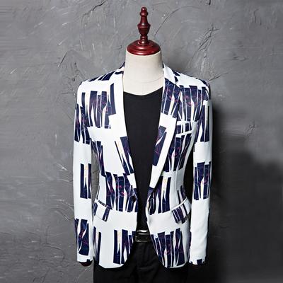 Printed Blue Stripe Dress Men's Leisure Suit Jacket Studio Moderator Hairstylist's Suit Danxi