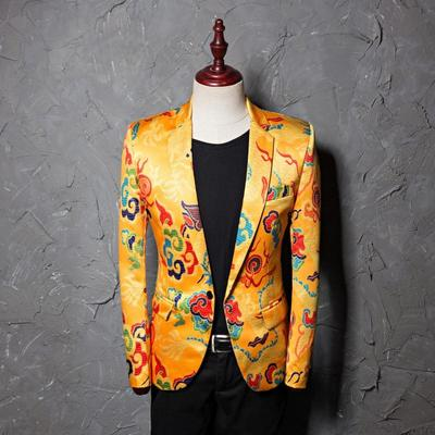 Printed yellow dragon pattern dress for men's leisure suit