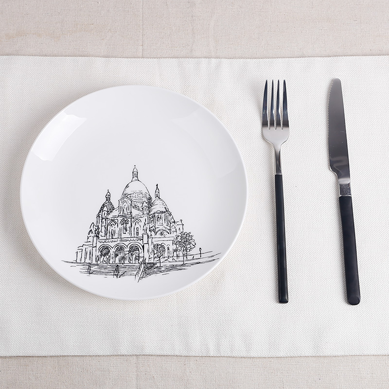 简约黑白西餐盘装饰盘建筑创意牛排盘子陶瓷器餐具早餐饺子盘碟子