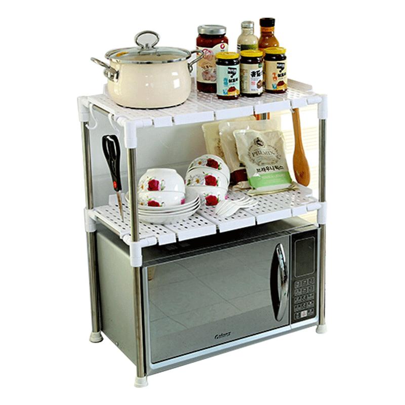 微波炉置物架厨房双层加厚多功能烤箱支架调味架落地收纳层架2层