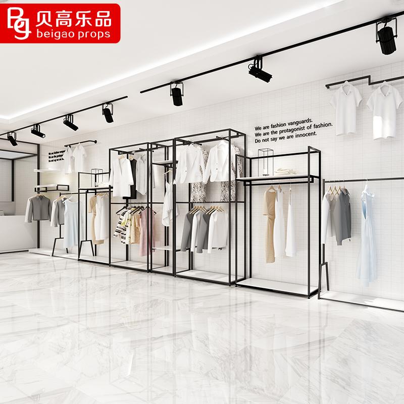 贝高乐品服装店衣架展示架落地式高柜男女装店货架双层落地架组合