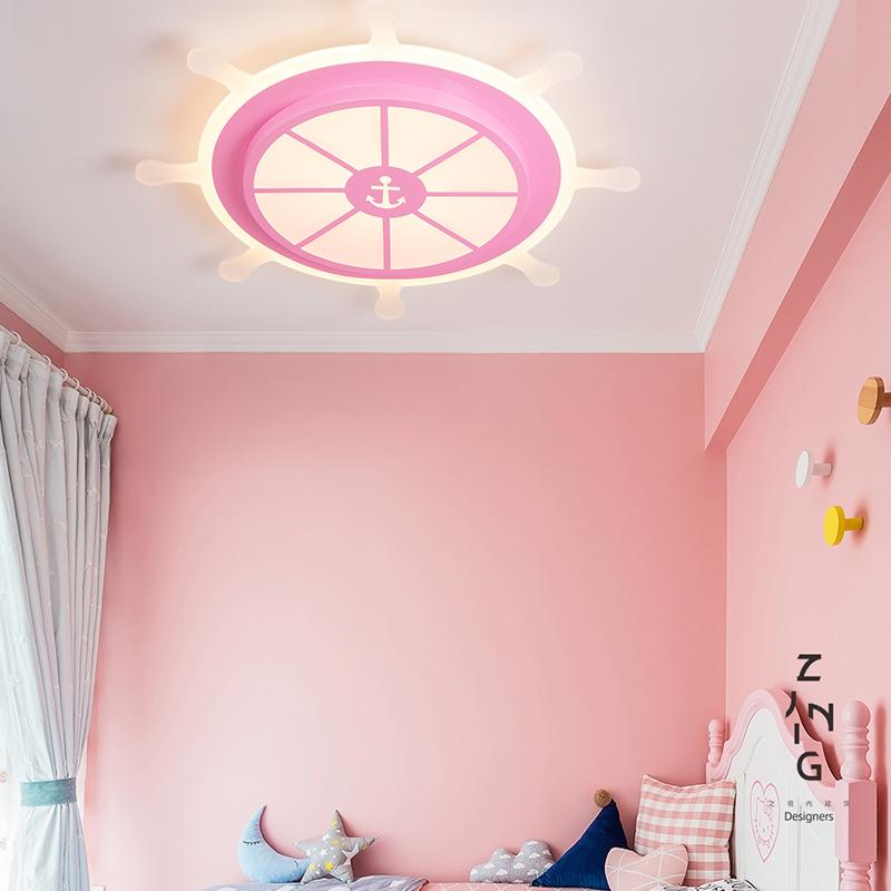 现代卡通儿童房吸顶灯地中海方向盘舵手创意卧室LED男孩女灯具