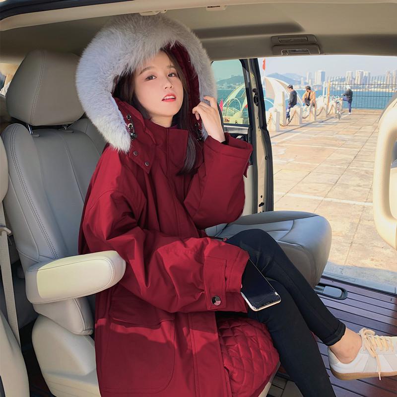 工装棉服外套女冬2020新中长款过膝派克服韩版宽松薄款港风棉衣袄
