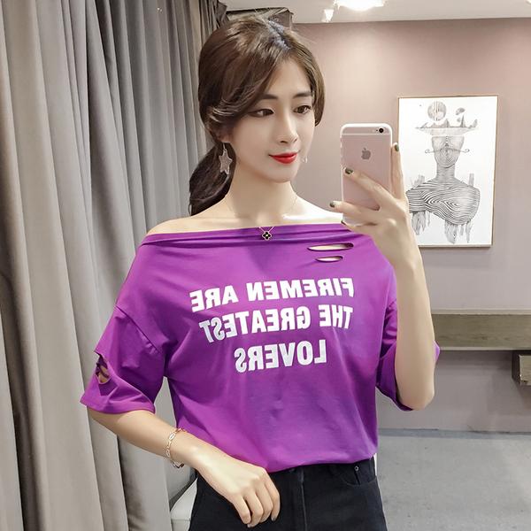 276#实拍!2017夏季新款韩版一字肩字母破洞T恤女装宽松半袖打底