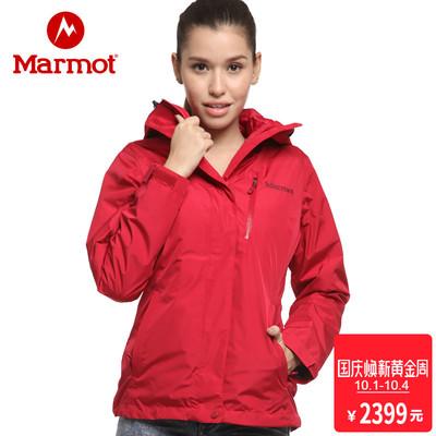 marmot-土拨鼠秋冬新款防水透气女式羽绒三合一冲锋衣J45190