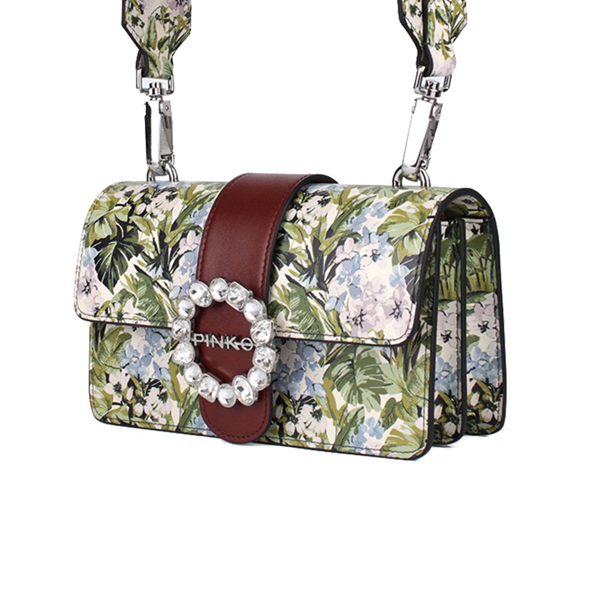 pinko品高新款女士绿色花卉图案单肩斜挎包燕子包1P212L Y4HQ