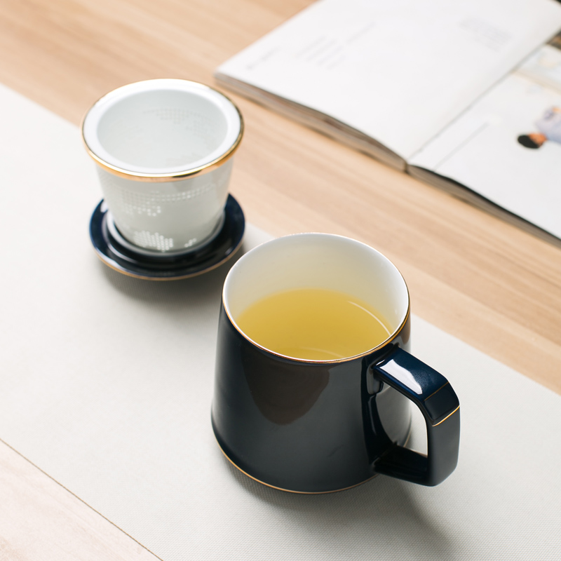 Hongying jingdezhen tea separation filter tea cups with cover cup office boss cup tea cups ceramic cup