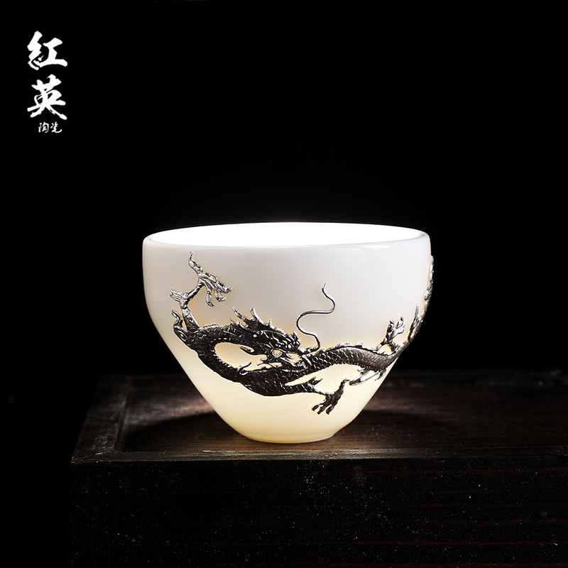 Red the jingdezhen ceramic cups kung fu tea set household sample tea cup individual small cups master cup single CPU